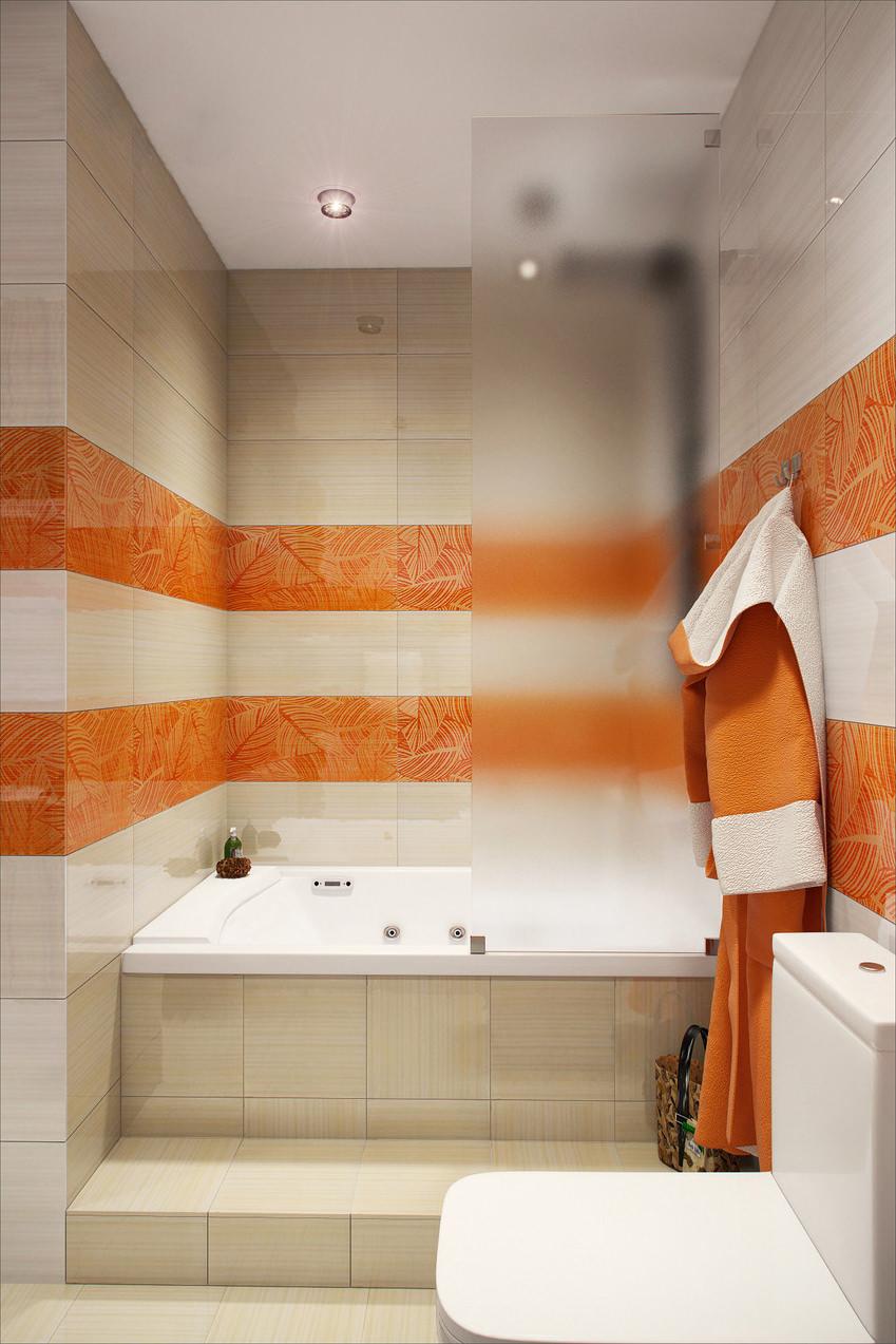 Полосатые бело-оранжевые стены в ванной