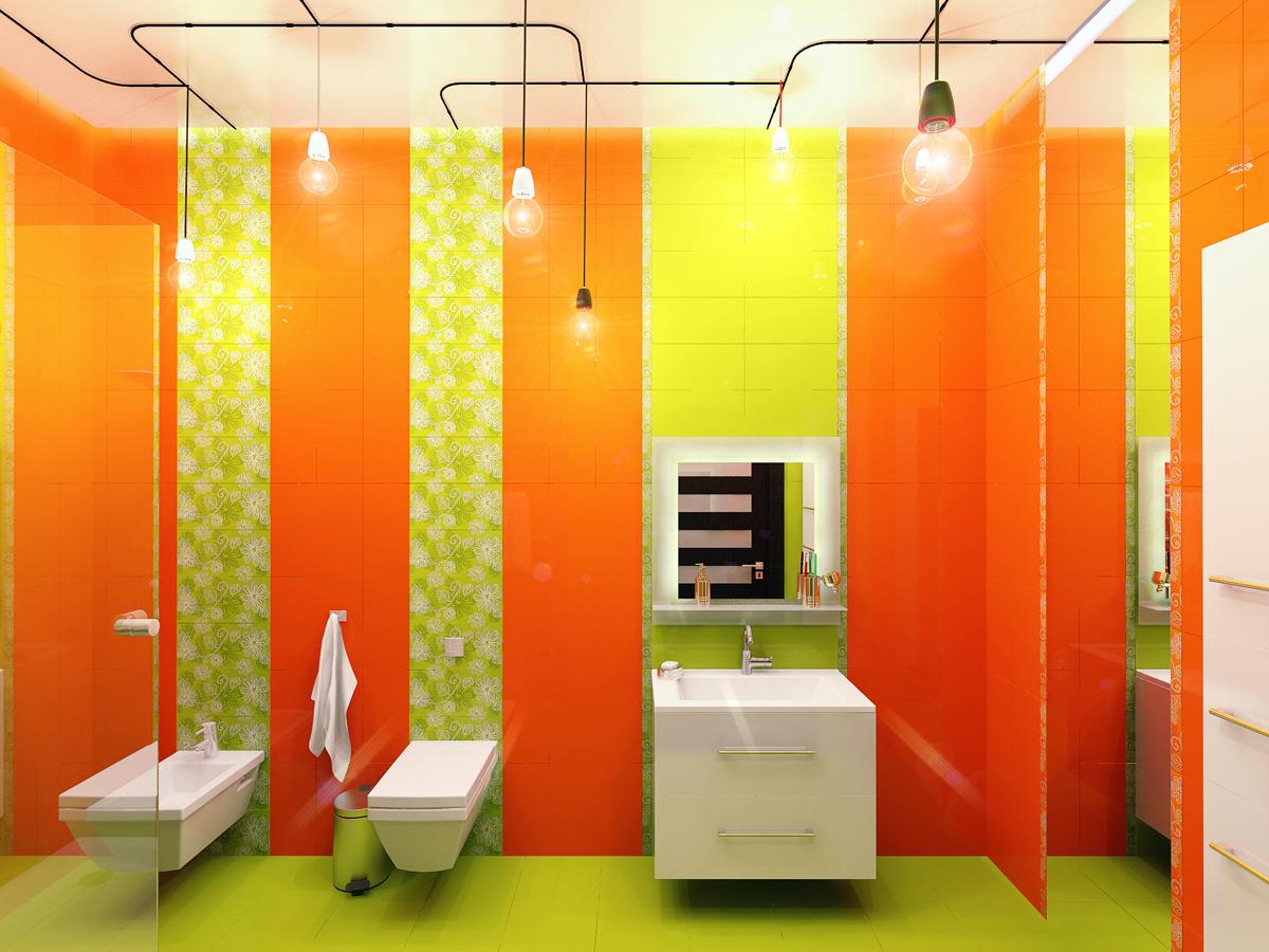Салатово-оранжевая ванная
