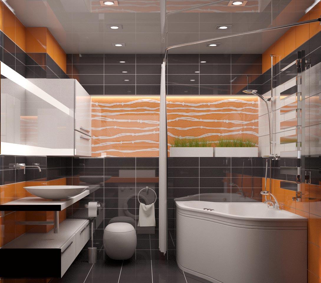 Оранжевый, черный и белый цвета в ванной