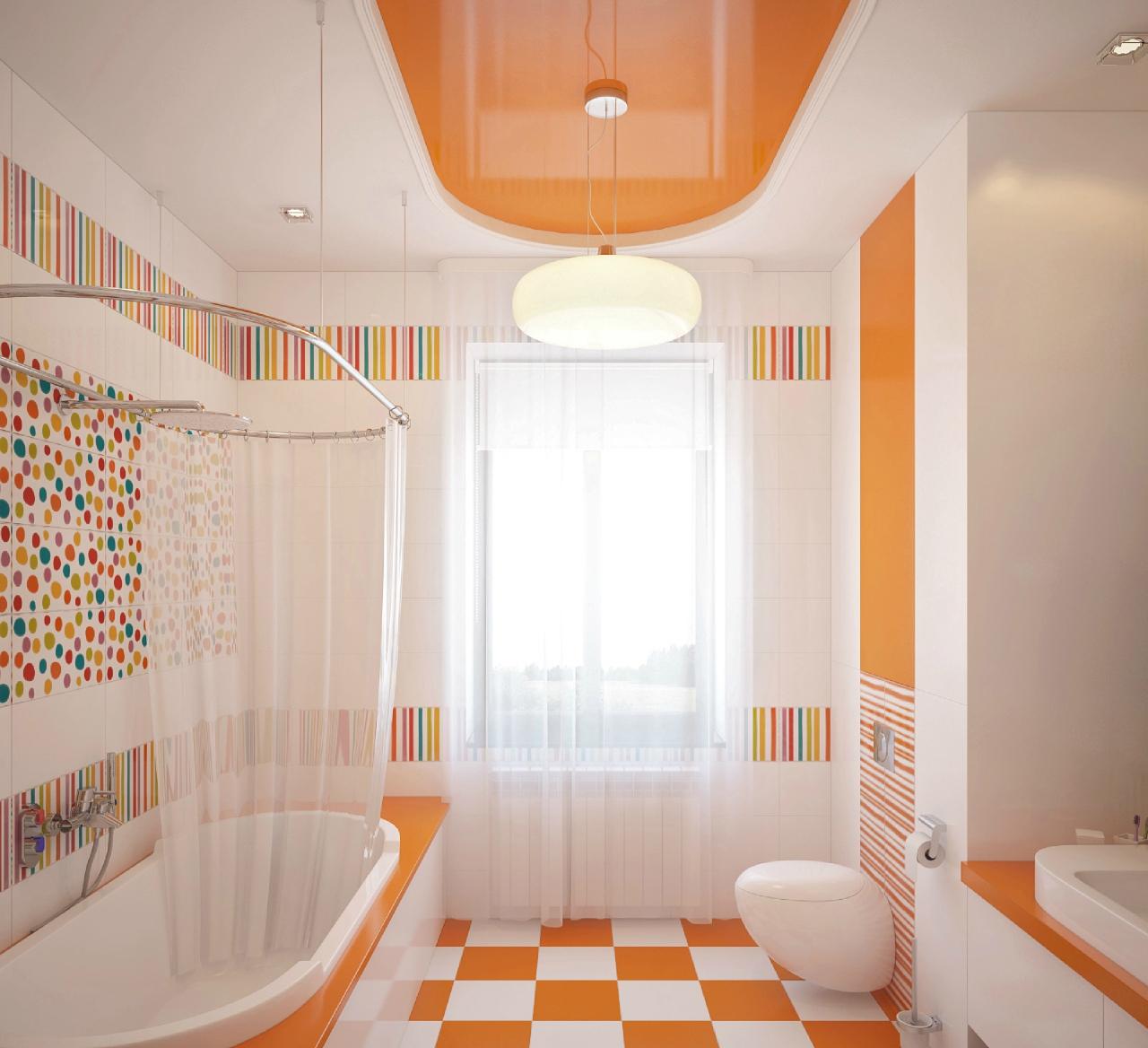 Разноцветные акценты в бело-оранжевой ванной