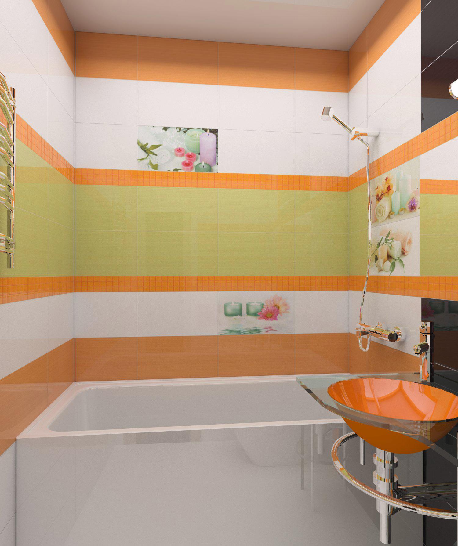 Оранжевый, зеленый, черный и белый цвета в интерьере ванной комнаты