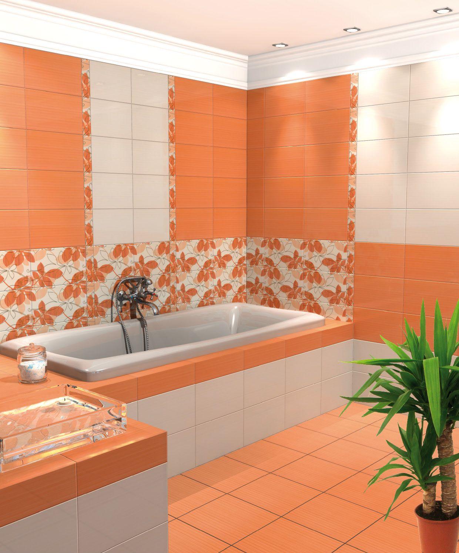 Оранжево-белый дизайн ванной