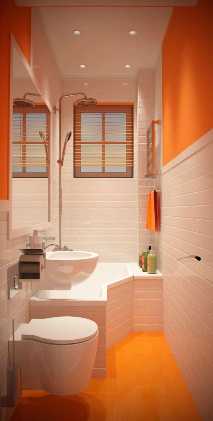 Оранжевые детали в интерьере ванной