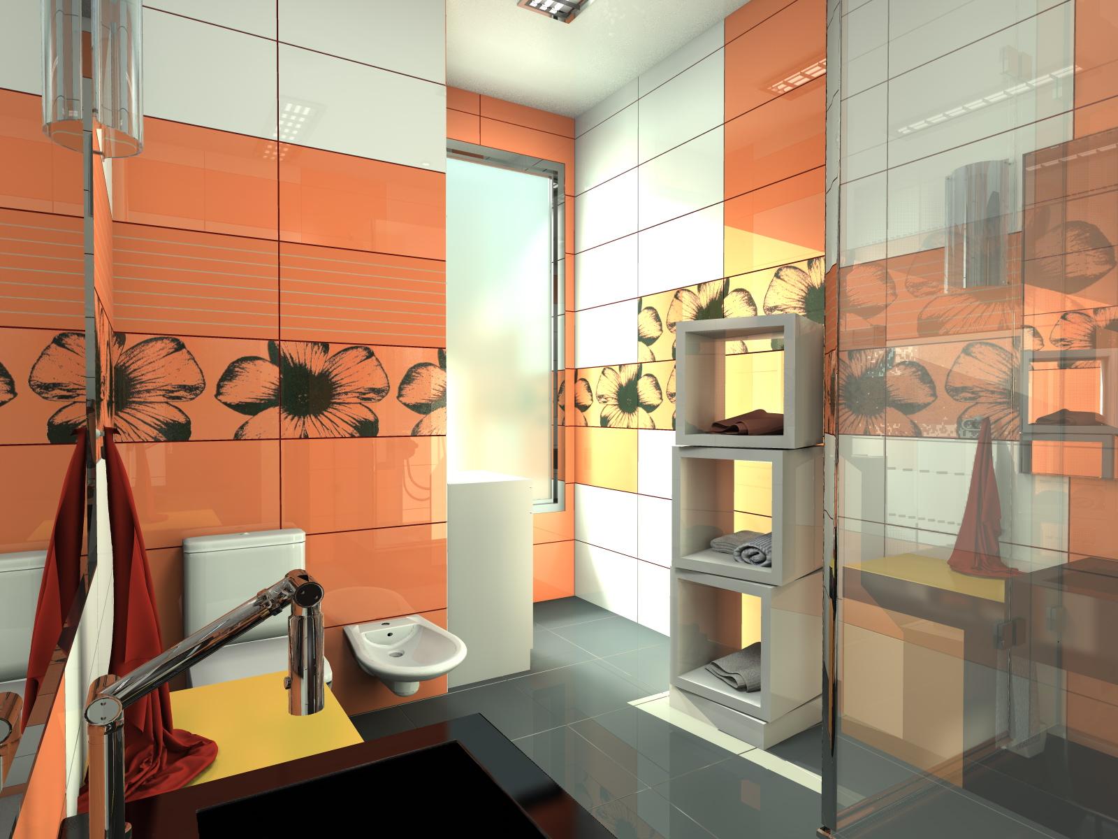 Эффектная оранжевая плитка в ванной