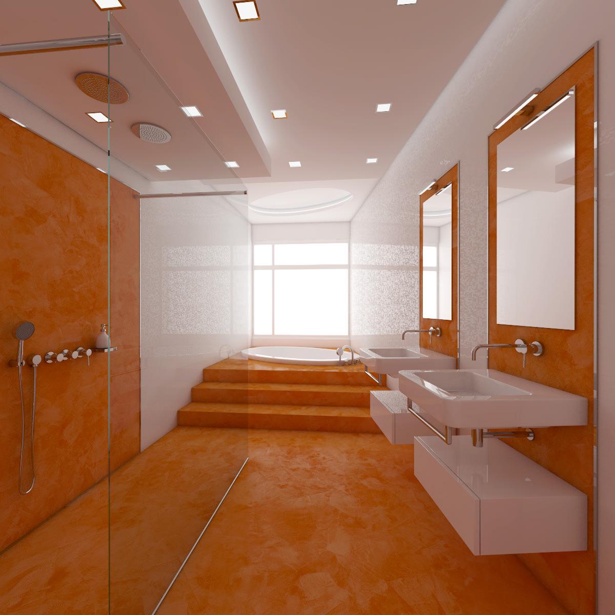 Белая и серебристая сантехника в оранжевой ванной
