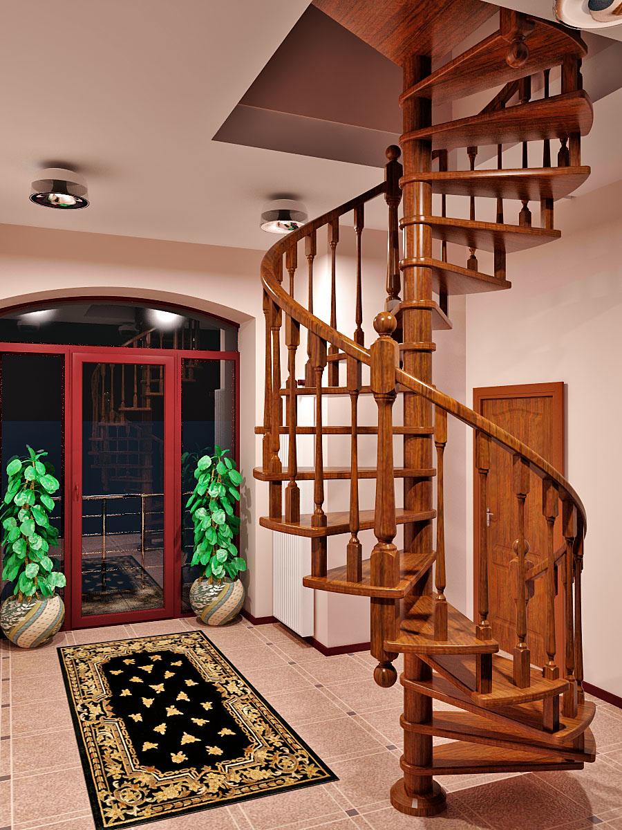 Деревянная винтовая лестница в загородном доме