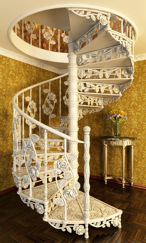 Красивая кованая белая винтовая лестница