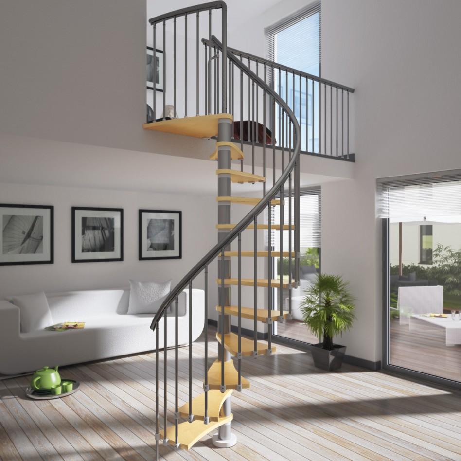 Бежево-серая лестница в интерьере