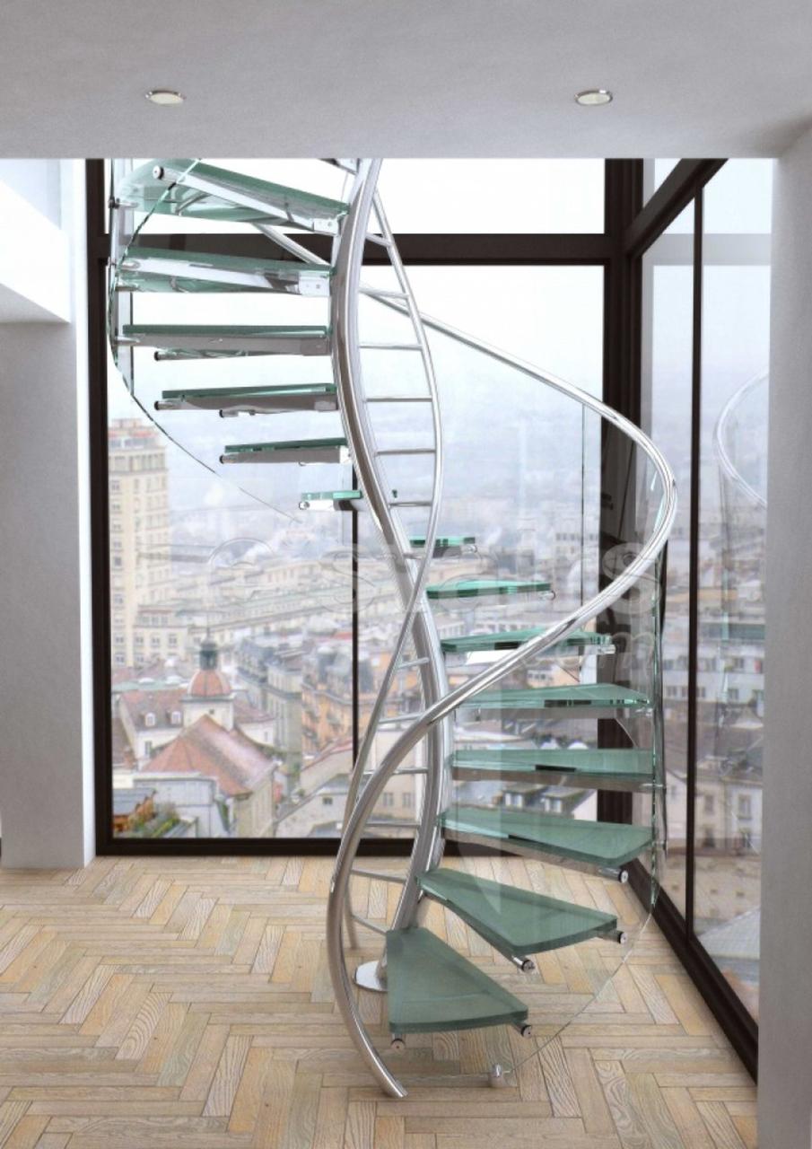Стеклянная винтовая лестница в интерьере