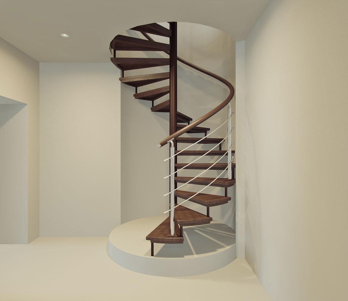 Винтовая коричневая лестница в доме