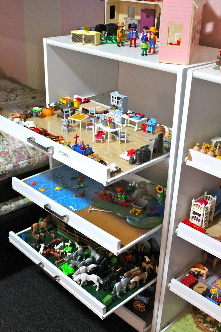 Выдвижные полки для хранения игрушек