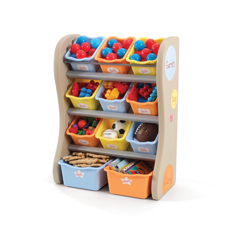 Стеллаж с наклонными ящиками для игрушек