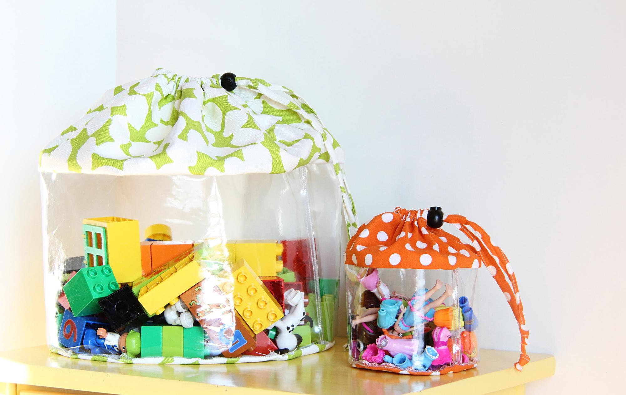 Мешки из ткани и пленки для игрушек