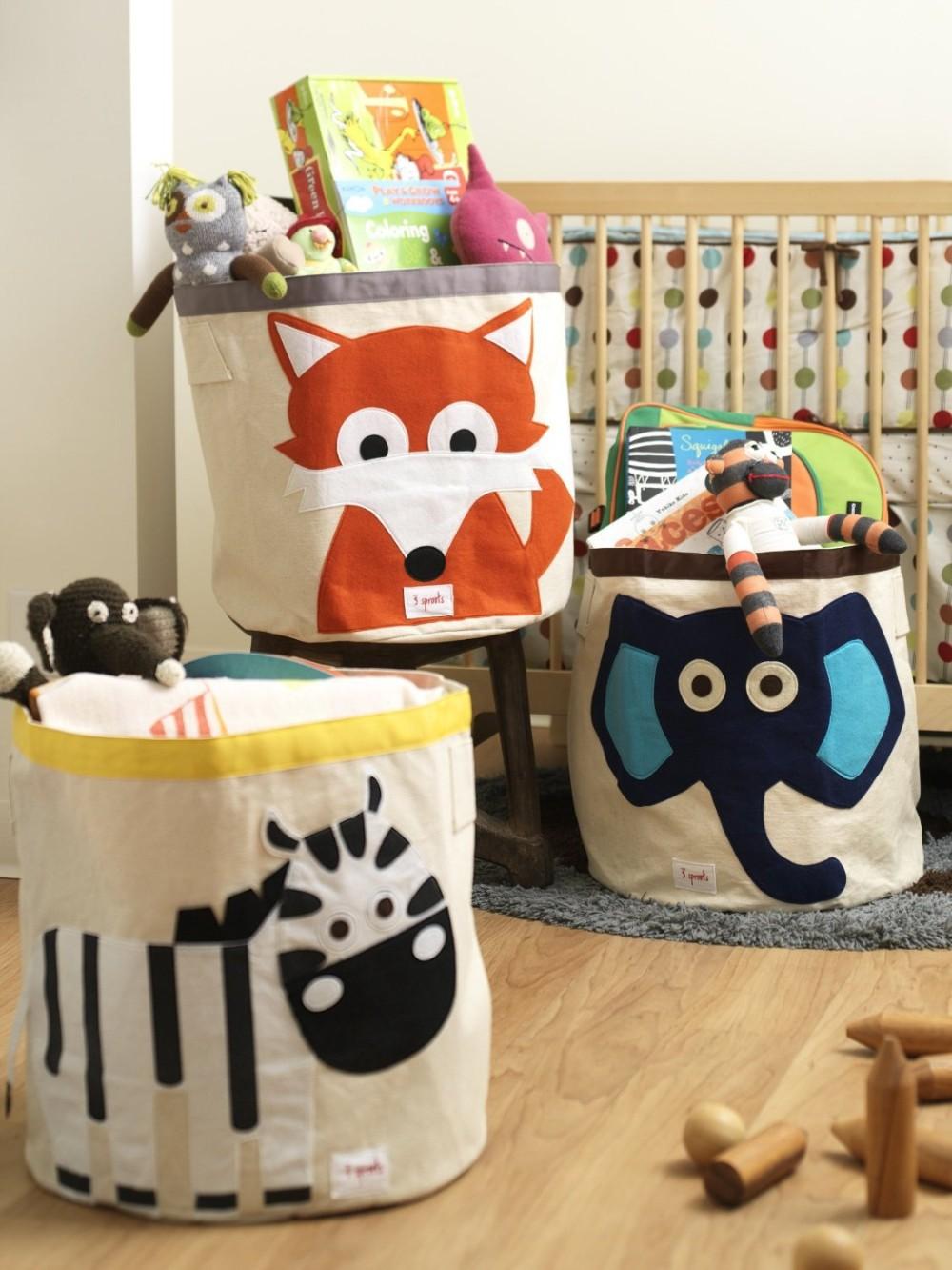 Тканевые корзины с животными в детской