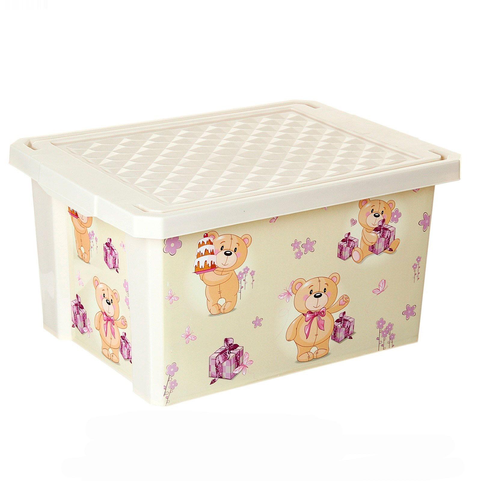 Бежевый пластиковый контейнер для игрушек в детской