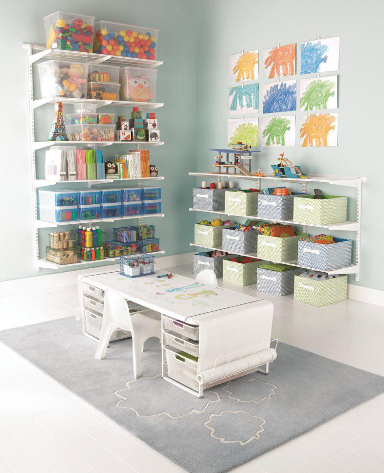 Большая система хранения игрушек в детской