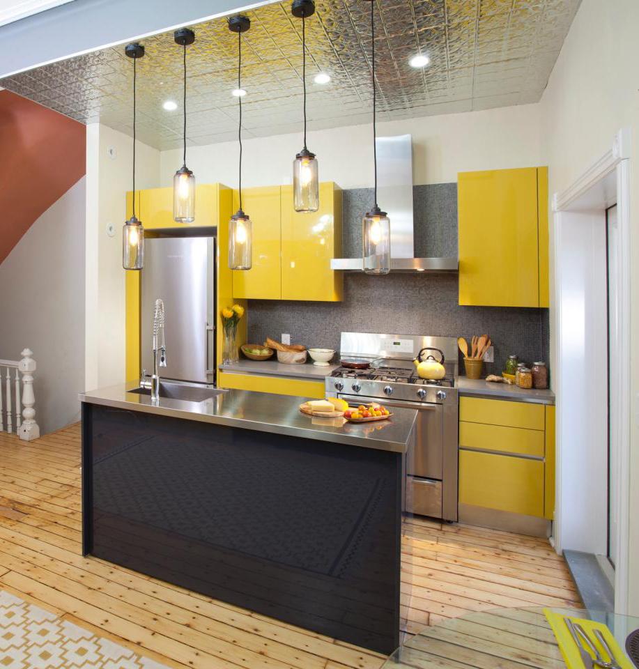 Желтый дизайн кухни
