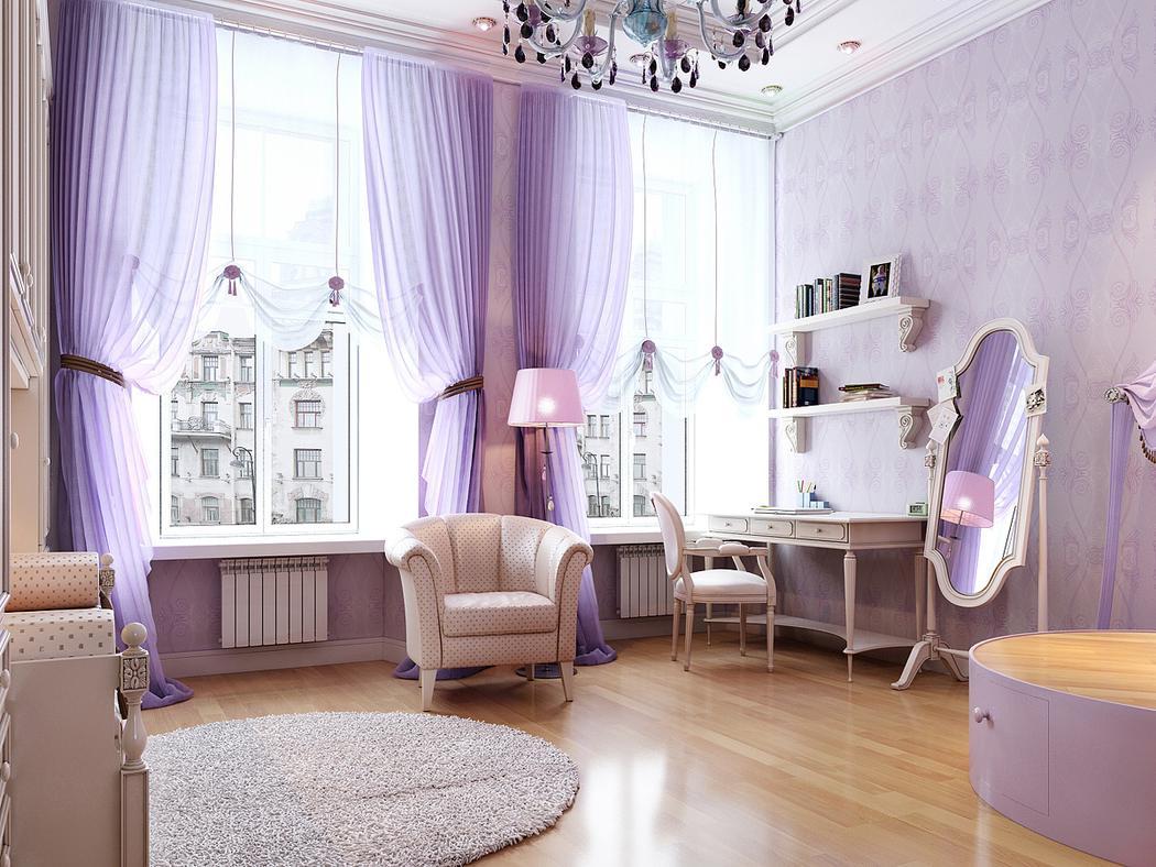 Сиреневые австрийские шторы в комнате девочки