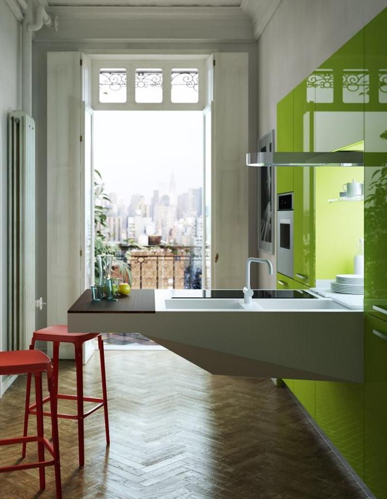 Кухня 14 кв. м с балконом