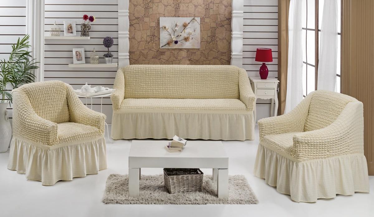 Кремовые чехлы на диван и кресла в гостиной