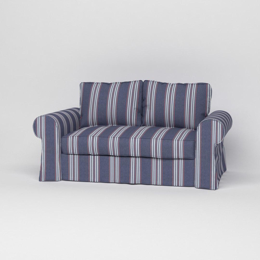 Полосатый темный чехол на диван