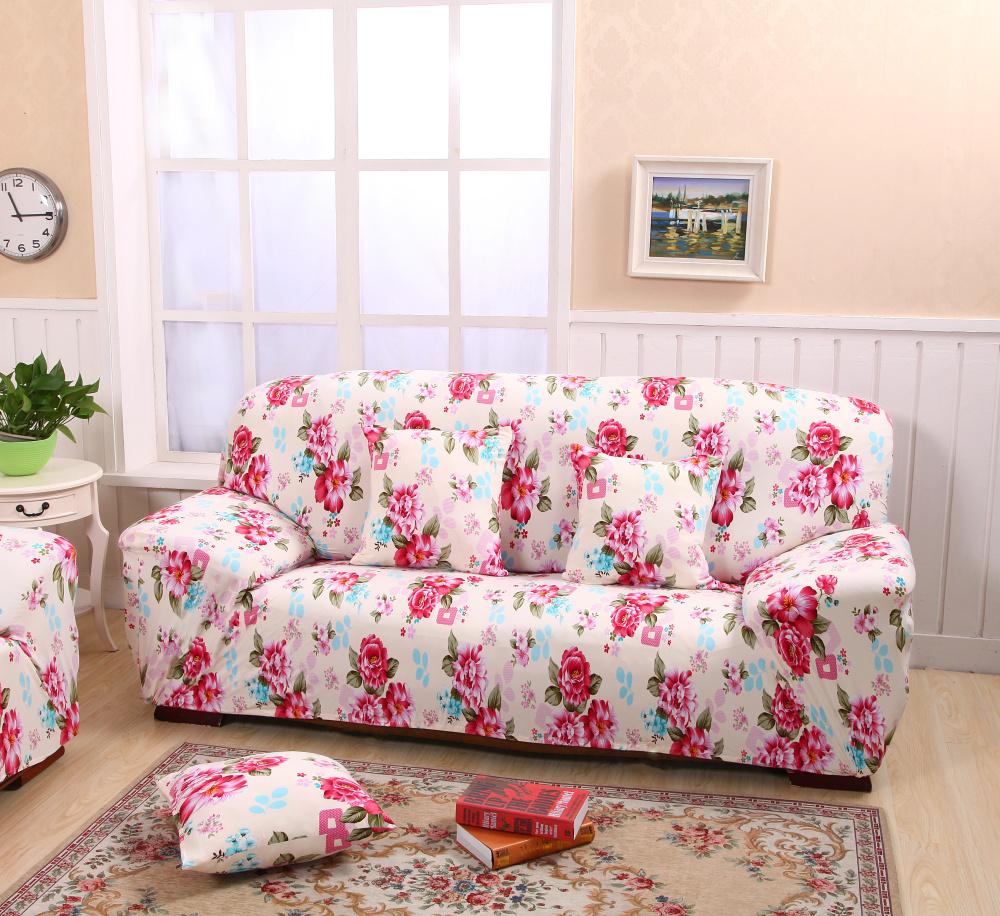 Цветочный чехол на диван