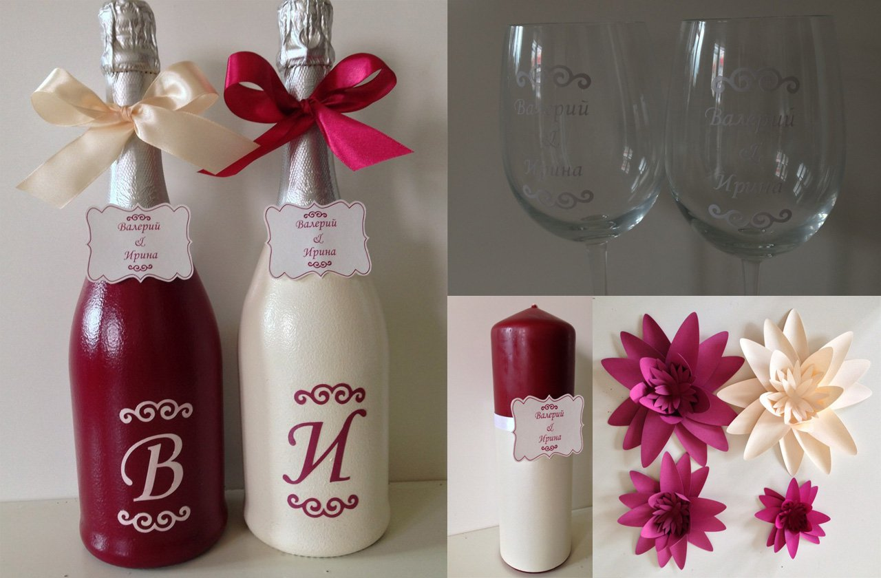 Декор бутылок на свадьбу