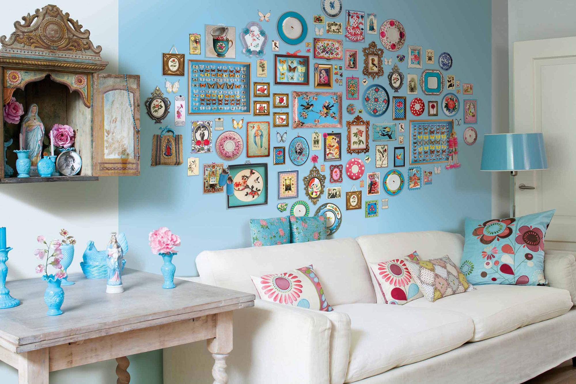 Яркий и необычный декор стены