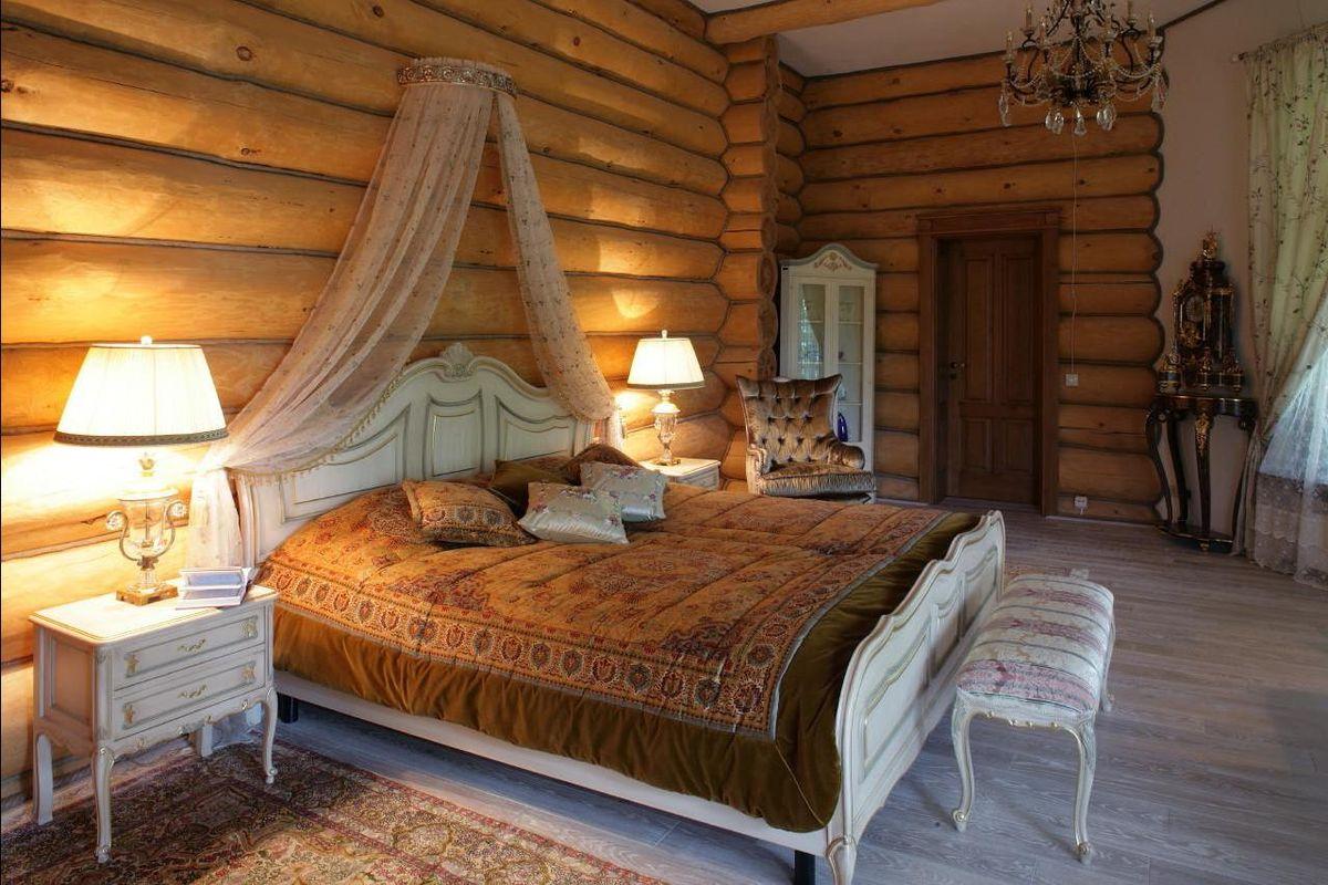 Блок-хаус в интерьере спальни