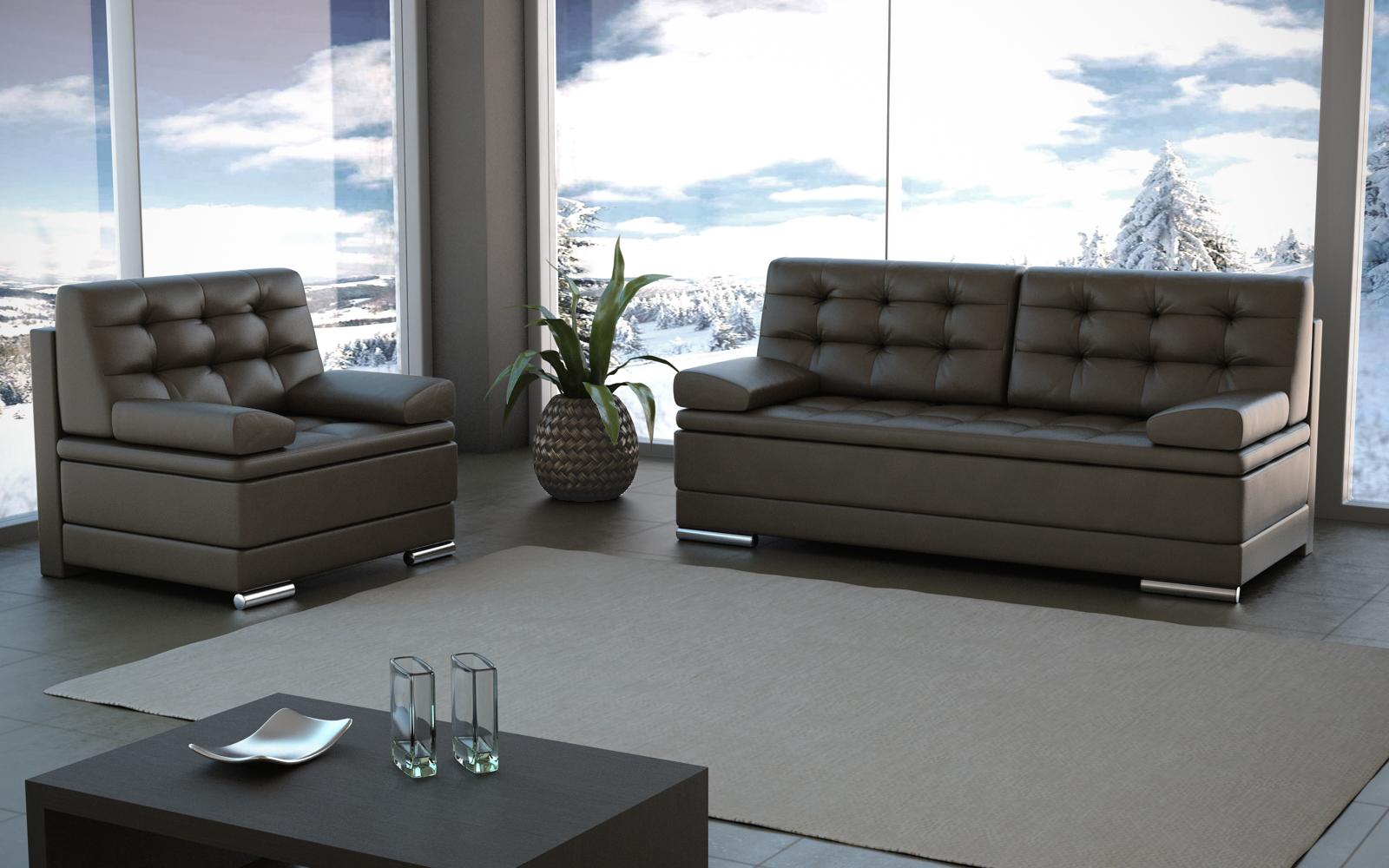 Коричневый кожаный диван еврокнижка в гостиной