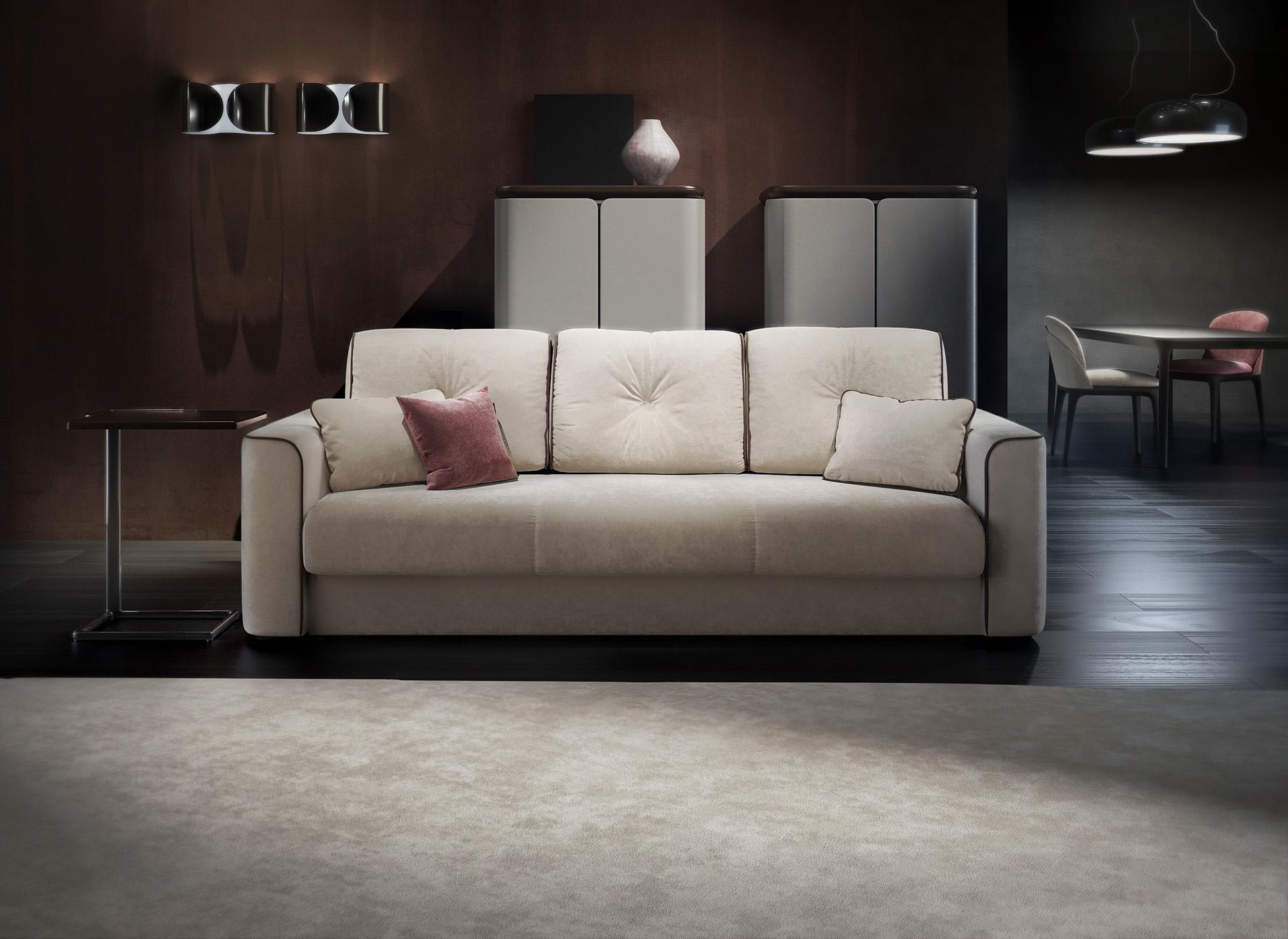 Бежевый бархатный диван еврокнижка в гостиной