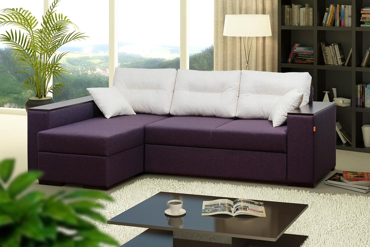 Тканевая обивка фиолетово-белого дивана еврокнижки