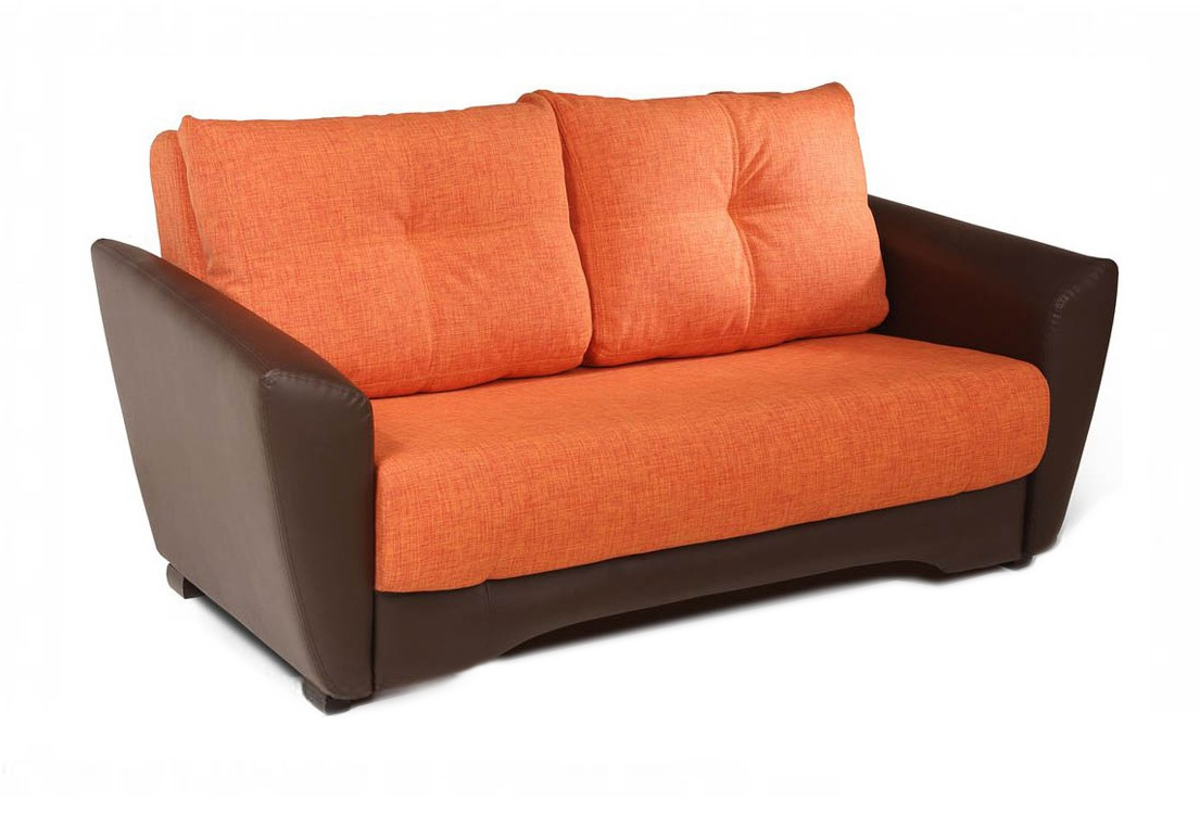 Коричнево-оранжевый диван еврокнижка