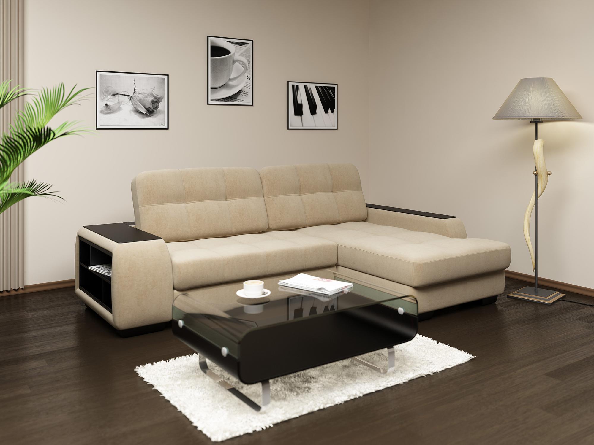 Бежево-черный диван еврокнижка