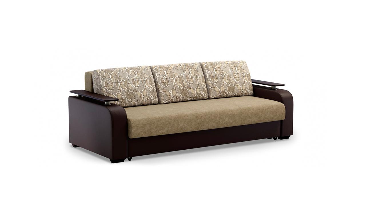 Бежево-коричневый диван еврокнижка для гостиной