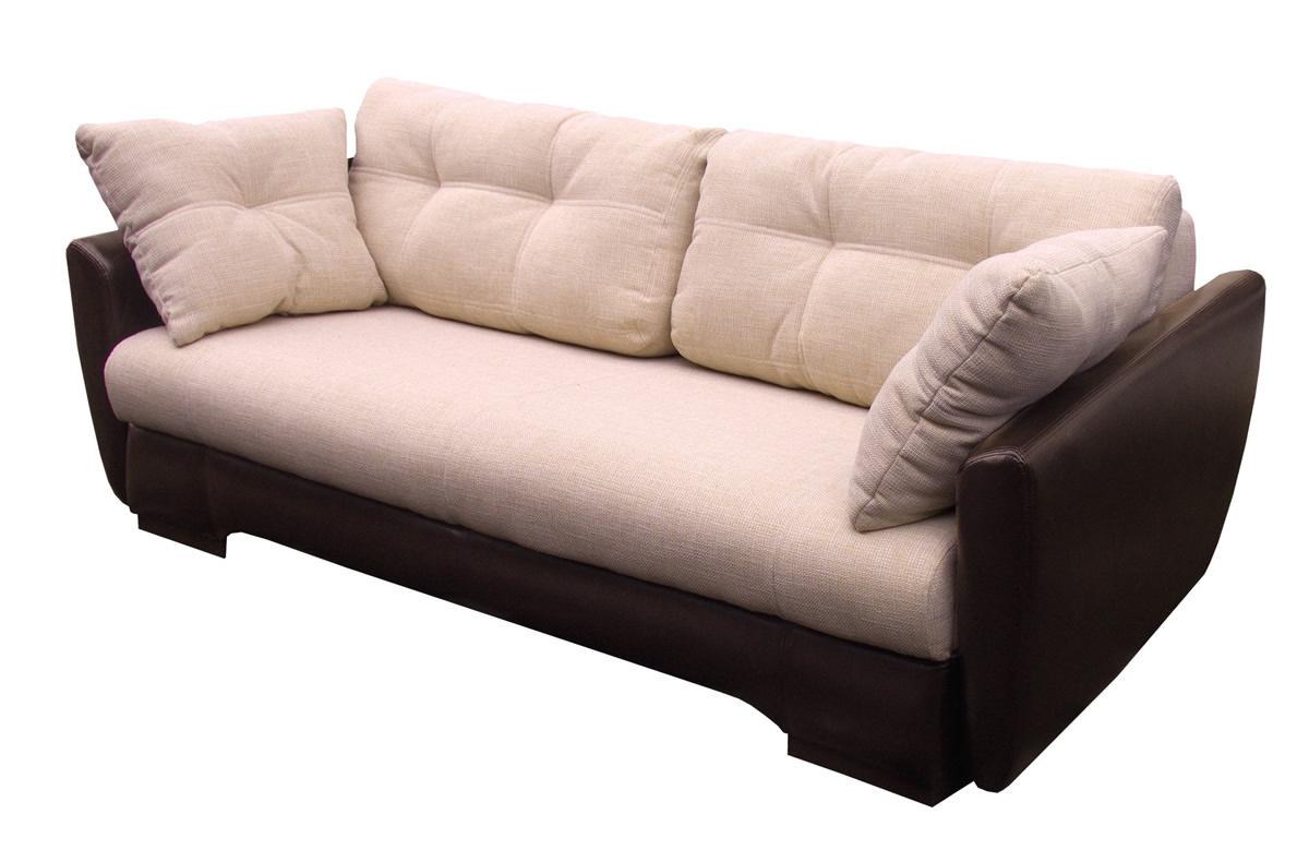 Бежево-коричневый диван еврокнижка с обивкой из кожи и ткани