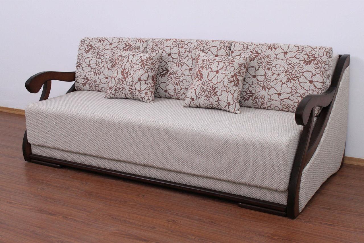Серо-коричневый диван еврокнижка с деревянными подлокотниками