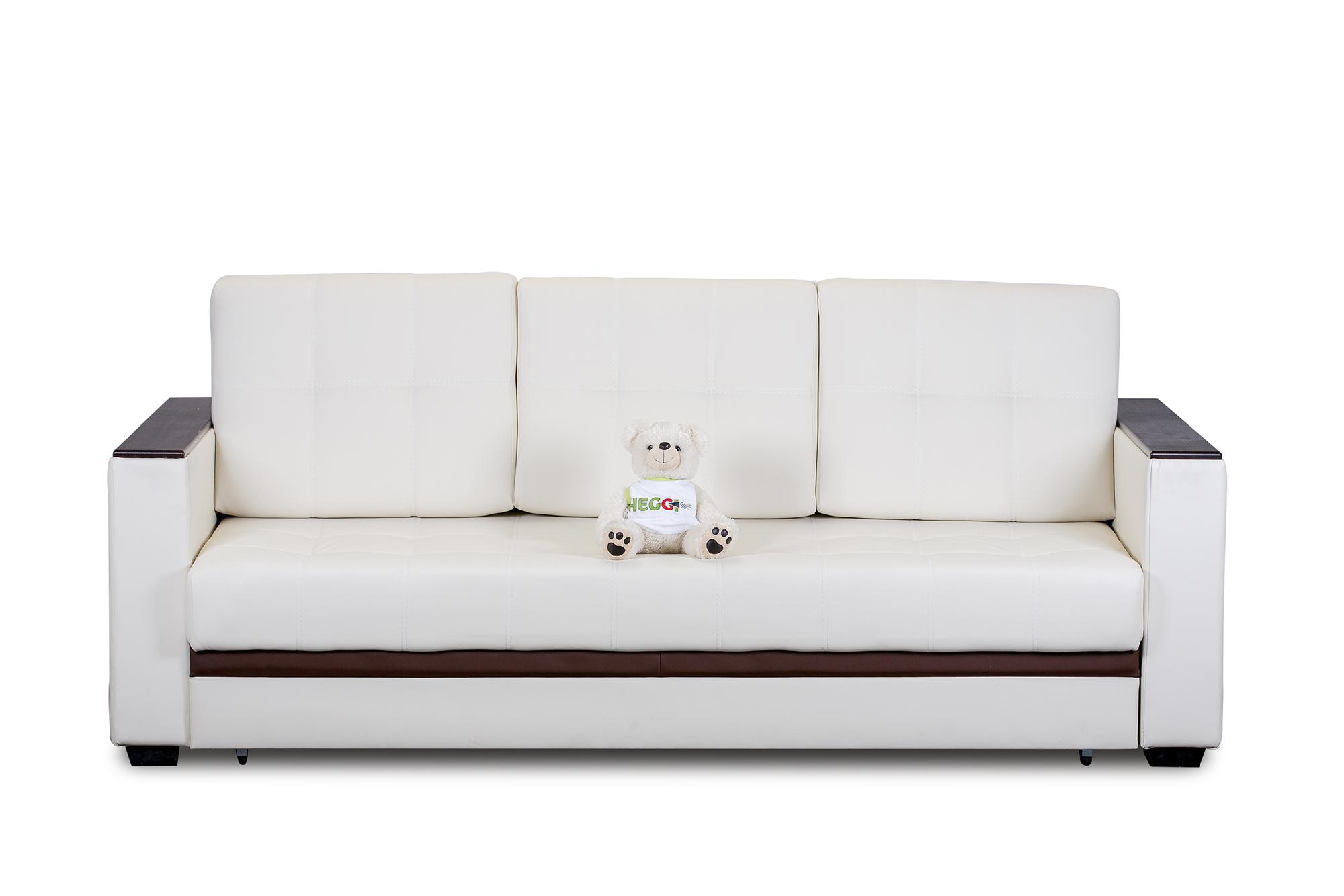 Бело-коричневый кожаный диван