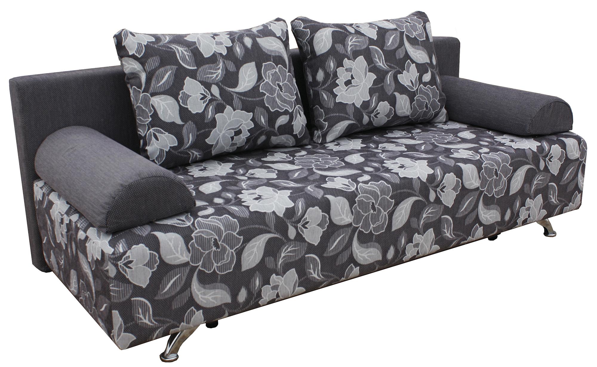 Серо-черный диван с цветочным принтом