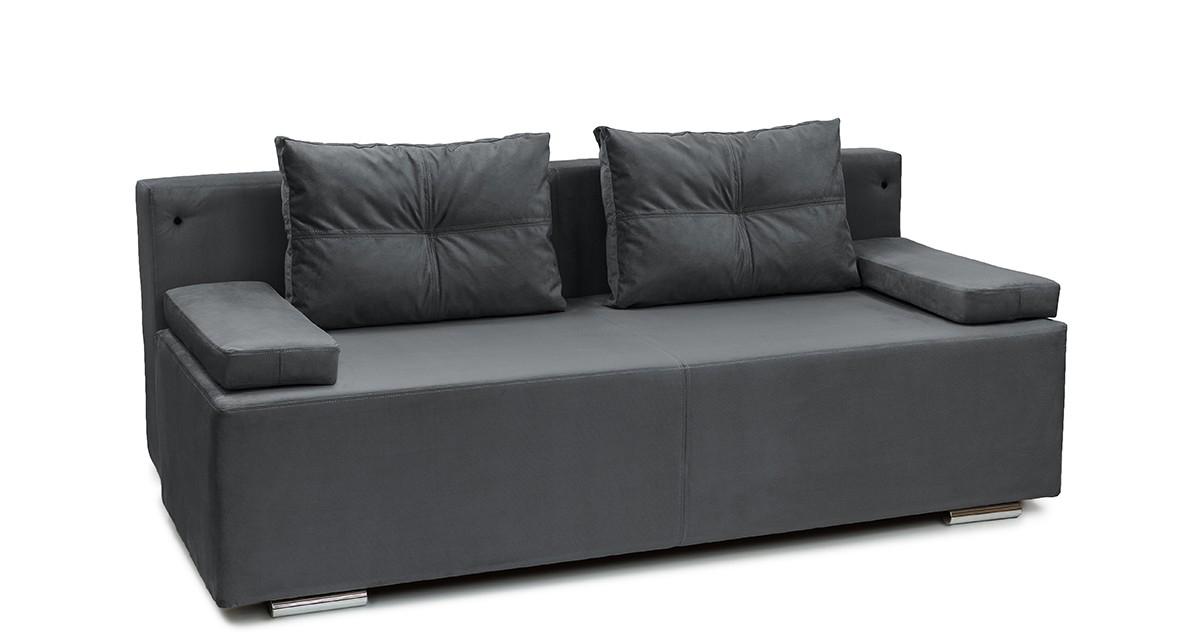 Черный кожаный диван еврокнижка