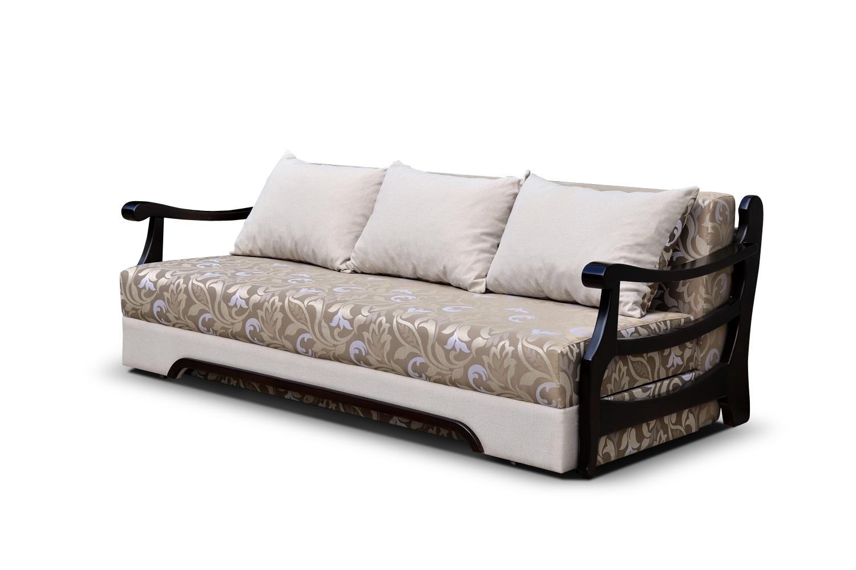 Бежево-черный диван еврокнижка с деревянными подлокотниками