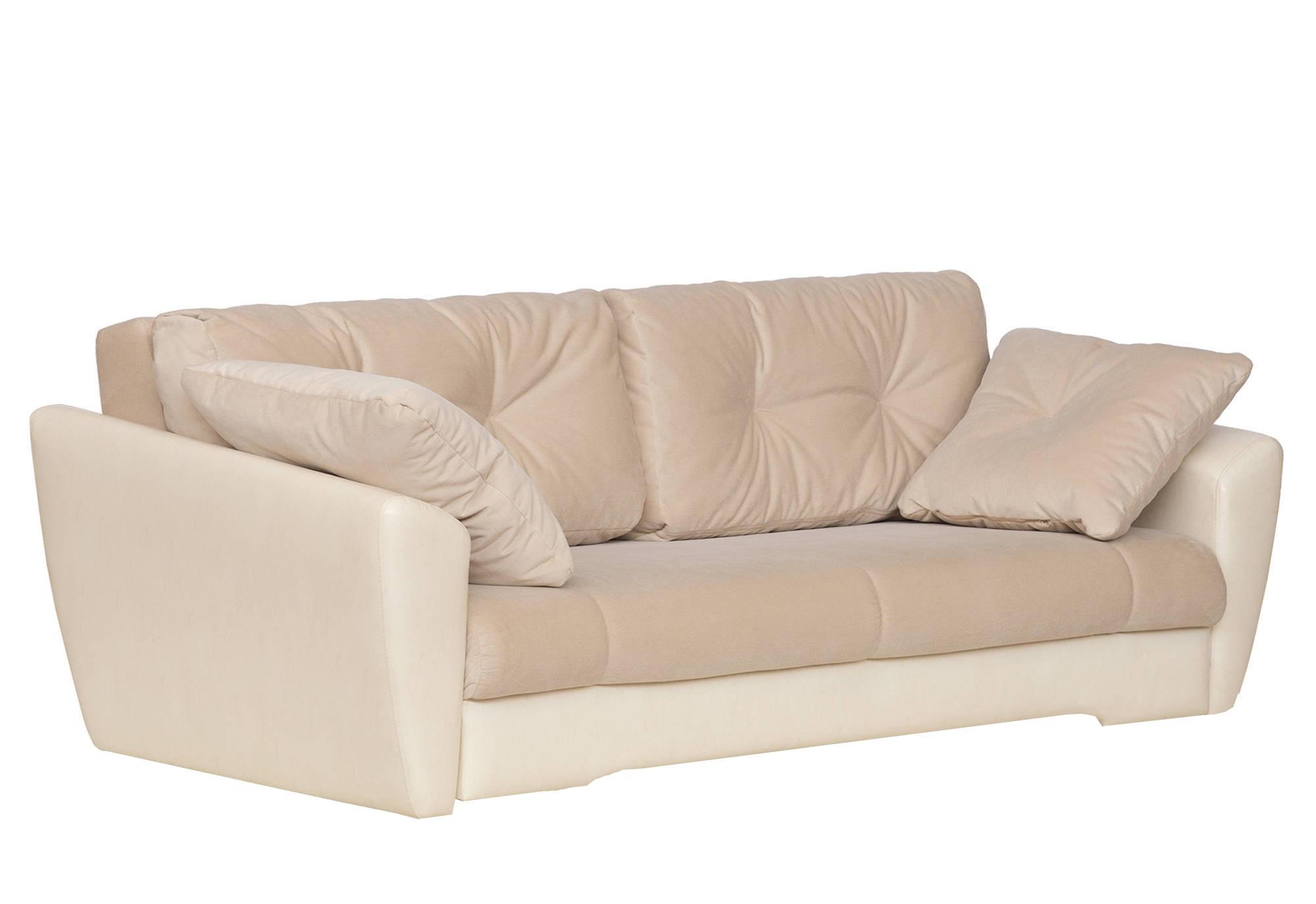 Бежевый кожаный диван еврокнижка