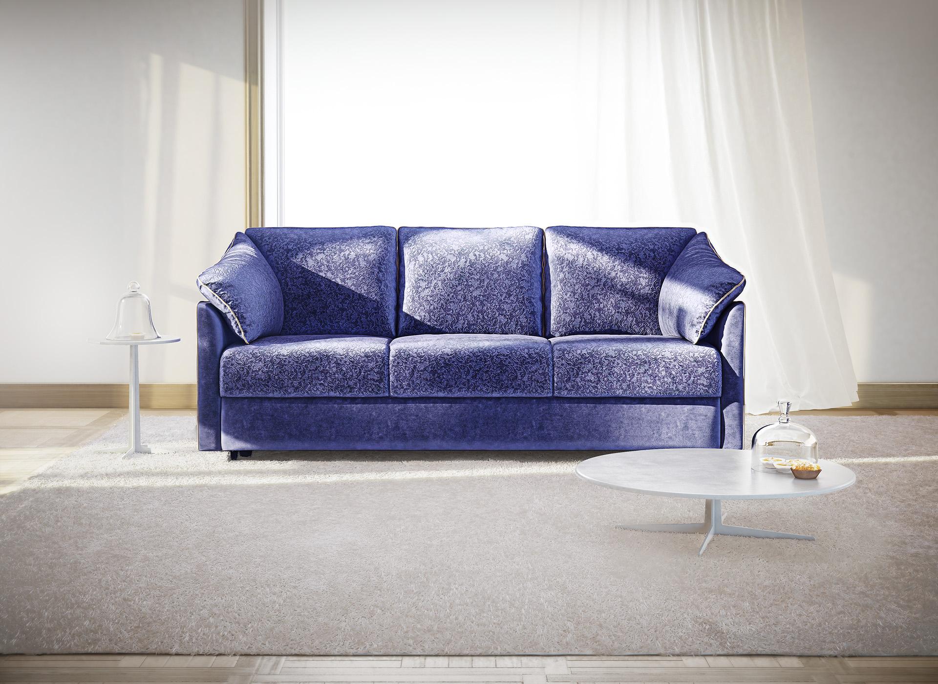 Синий бархатный диван еврокнижка