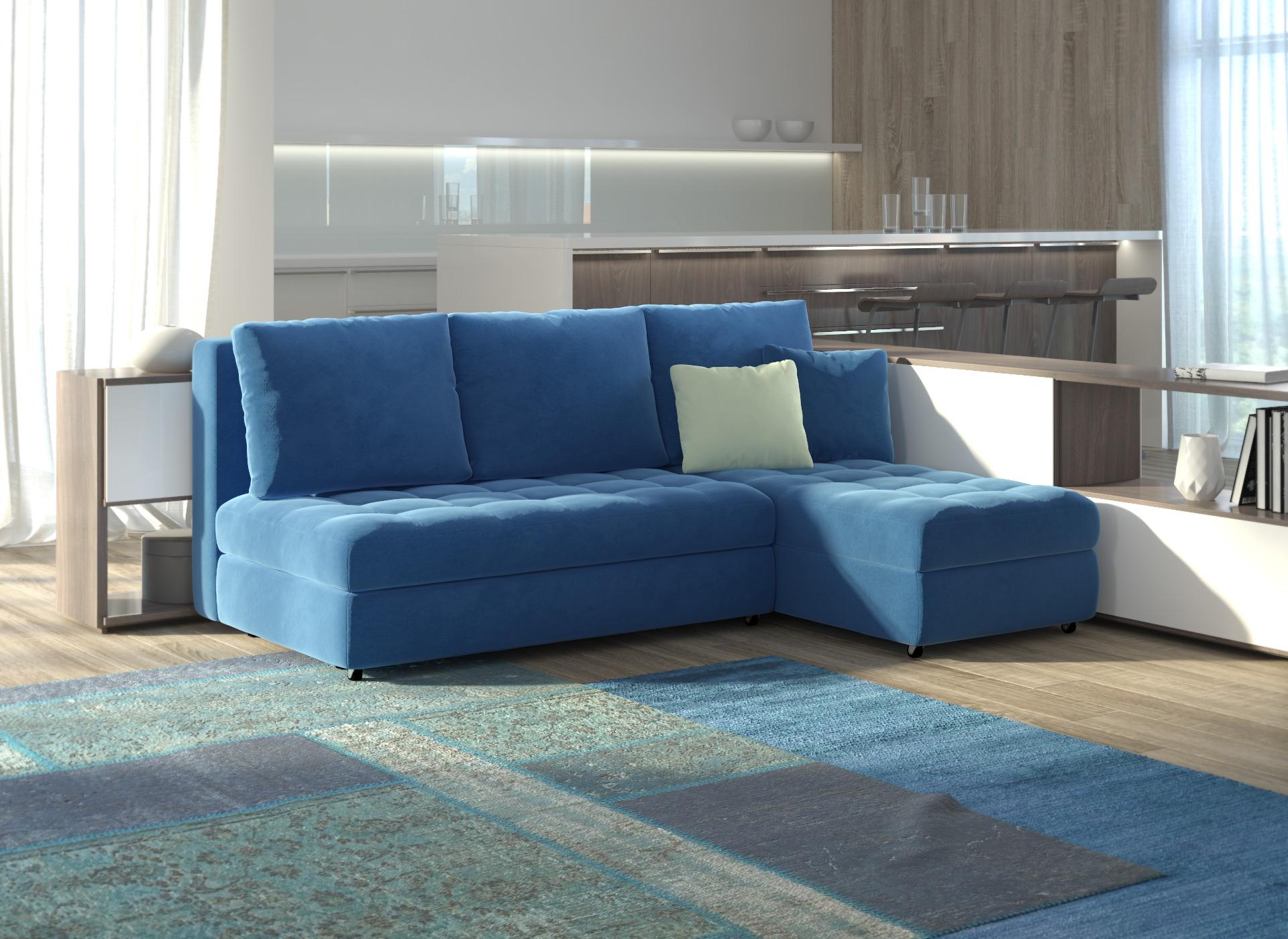 Синий диван в современном интерьере