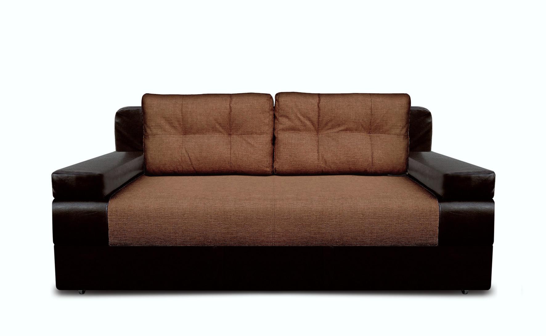 Черно-коричневый диван с обивкой из ткани и кожи