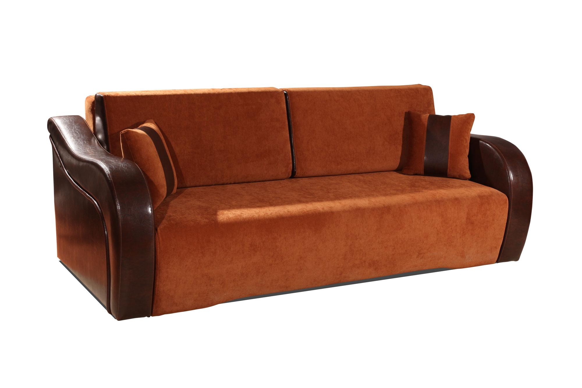 Коричневый диван с обивкой из ткани и кожи