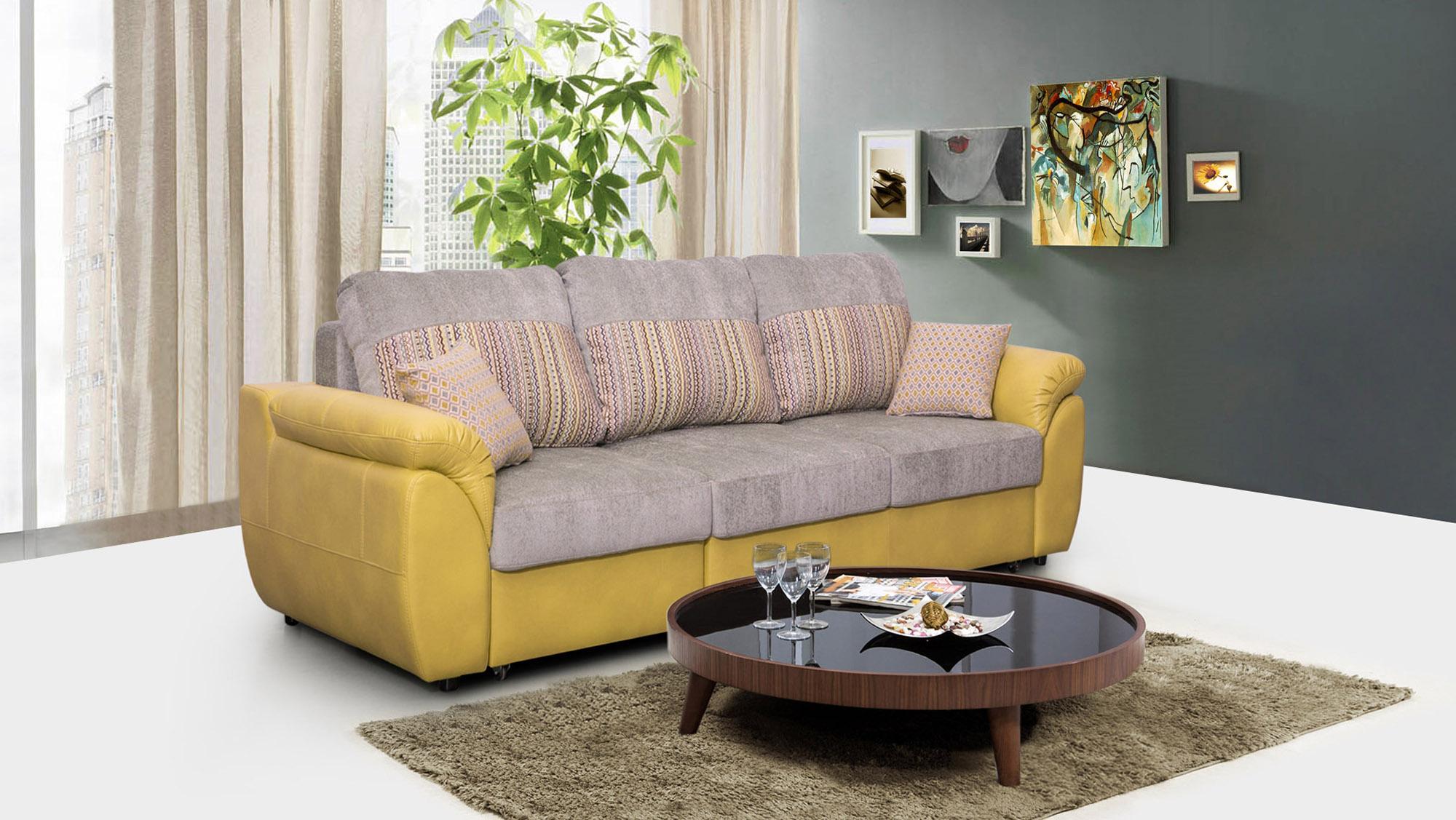Серо-желтый диван еврокнижка