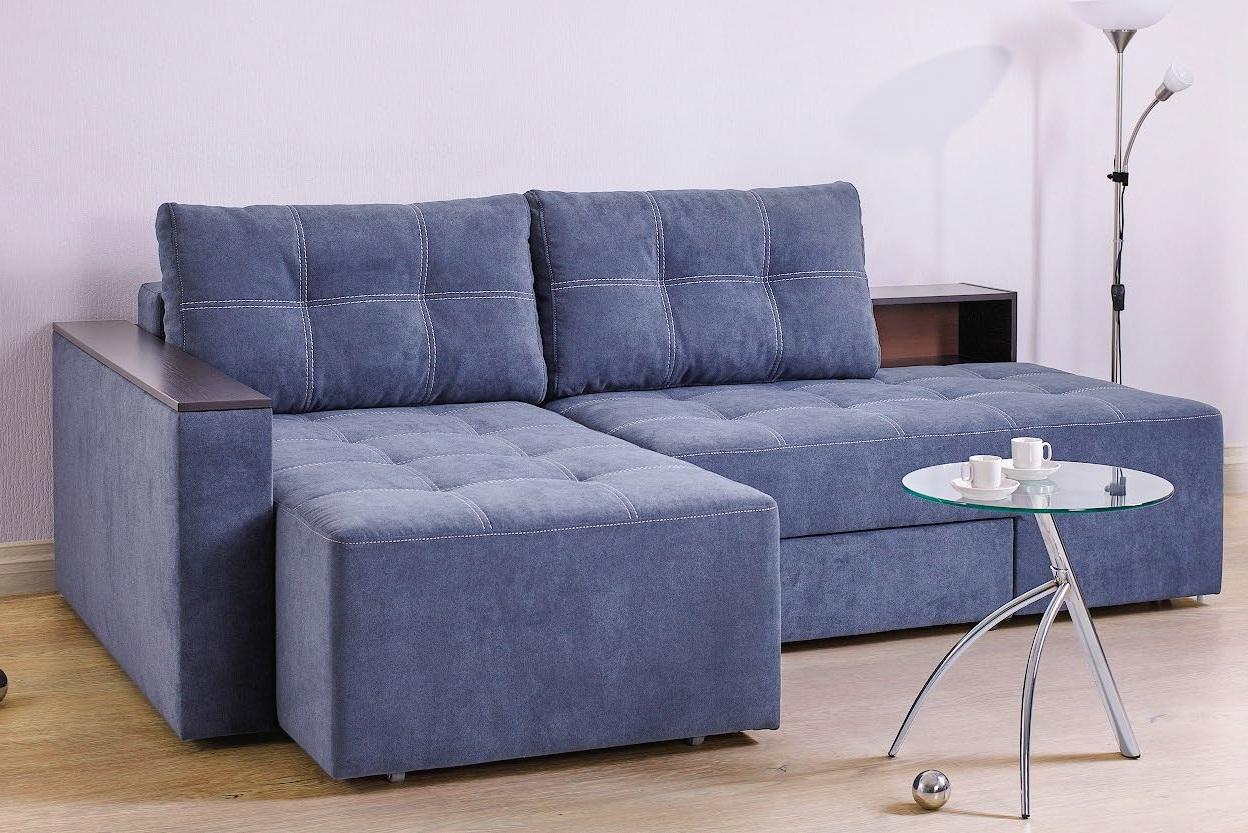 Синий красивый диван еврокнижка