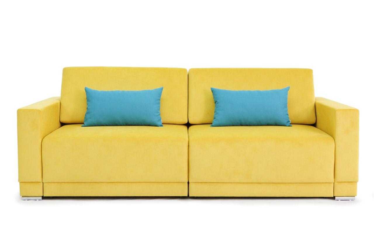Желтый диван еврокнижка с голубыми подушками