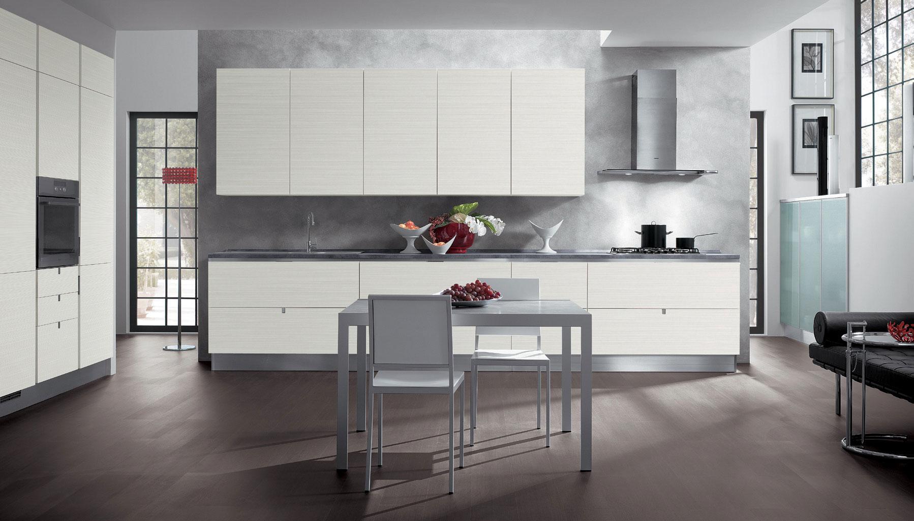 Бело-серая кухня в стиле модерн
